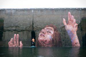 Huna Hula Canada Street Art Baie de Fundy Eau Marée Femme Fresque